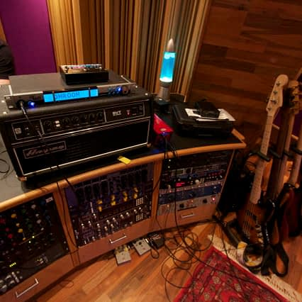 Guitar recording setup at BoomTown.